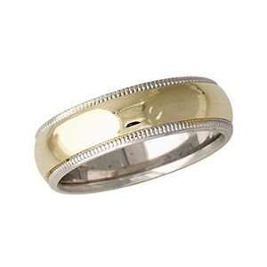 mm Two Toned White Milgrain Edge Comfort Fit Womens Wedding Band in