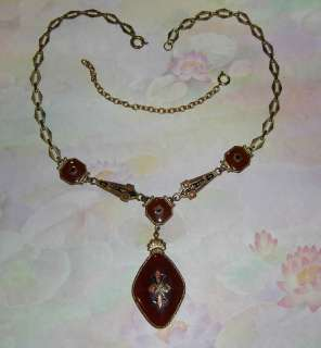 Vintage Czech Carnelian Glass & Enamel Art Deco 1930s Brass Necklace w