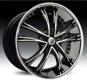 24 Lexani LSS 55 Wheel SET 24x9 Black Machined with Chrome Lip 5lug