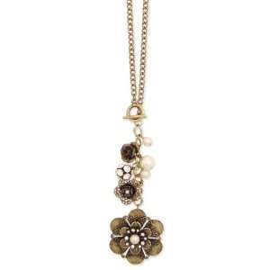 Antiqued Gold Metal Faux Pearl & Flower Toggle Necklace