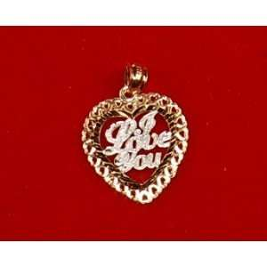 14K Two Tone Gold Heart Pendant/Charm I LOVE YOU Script