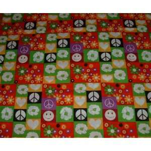 Fabric Peace sign Happy Face Floral 2.50 yards x 44 New
