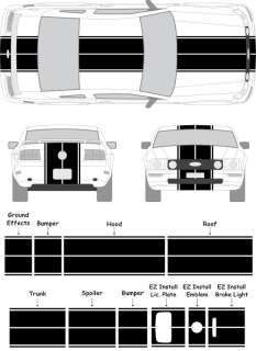 Mustang Eleanor Rally Racing Stripe Decals 2006 2007 2008 2009