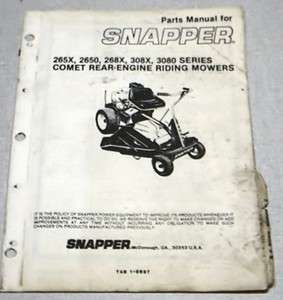Snapper Comet Rear Engine Riding Mower Parts Manual 265X,2650,268X