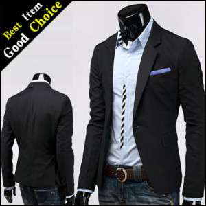 Mens Luxury Stylish Slim Fit Blazer Black XXL (US XL)