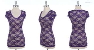 02 Lace Cap Sleeve Top (88% NYLON 12% SPANDEX) Dark Purple 01  vv