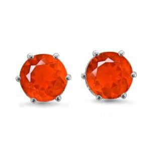 14k White Gold 6 Prong Natural Fire Opal Stud Earrings,1