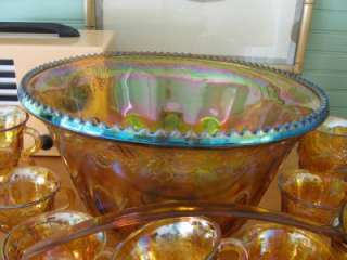 Fantastic Vintage Indiana Carnival Glass Punch Bowl Ladle Cups Grape