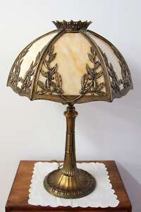 Bradley & Hubbard Art Nouveau Lamp Slag Glass Shade