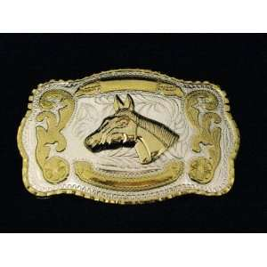 Horse Cow Boy Western Gold and Silver Finishing Square Belt Belt