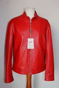 ITALIAN MEN FITTED SOFT LAMBSKIN SLIM FIT LEATHER JACKET RED SZ M