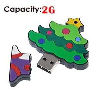 2G Rubber USB Flash Drive with Christmas Tree Shape (Small