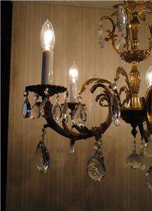 FRENCH ANTIQUE BRASS/BRONZE CRYSTAL CHANDELIER ~ LIGHT
