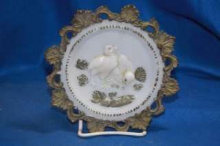 Antique 1900s Milk Glass Plate w/ 2 baby chicks colored