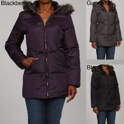Anne Klein Womens Hooded Down Coat