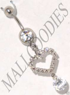 0169 Surgical Steel Belly Naval Ring Heart Design Shape