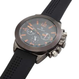 Sport Quartz Wrist Watch with Black Silicone Band and Big Dial