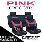 13pc set pink black auto car seat covers free steering