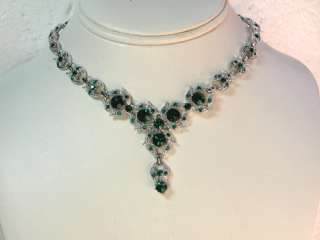 COLOR GREEN RHINESTONE CRYSTAL NECKLACE & EARRINGS SET H29