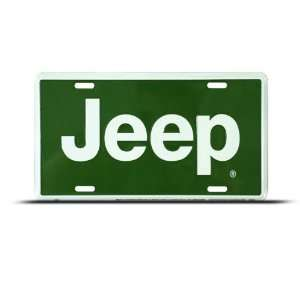 Jeep Green Metal Novelty Car Auto License Plate Wall Sign