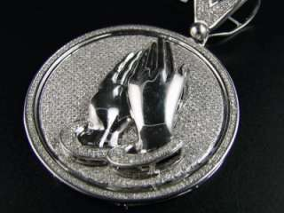 MENS PRAYING HANDS MEDALLION DIAMOND CROSS PENDANT 4.5C