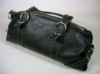 AUTHENTIC LARGE BLACK LEATHER PRADA BAG PURSE HANDBAG HOBO TOTE