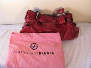 FRANCESCO BIASIA Red Leather Hand Bag Purse Evening Bag.