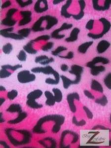 VELBOA FABRIC PINK LEOPARD PRINT FAUX FUR ONLY $6.49/YARD SOLD BTY