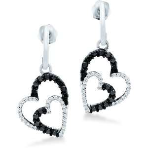 Black and White Round Diamond 10k White Gold Dangle Love Heart Shape