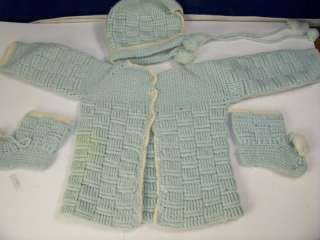 Hand knitted baby boy sweater booties and hat set retro