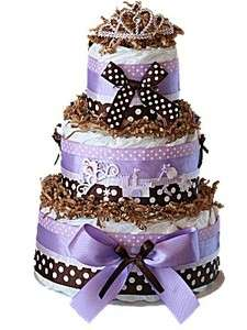 and Brown Princess Themed 3 Tier Baby Girls Diaper Cake Center Piece