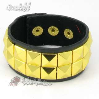 H392 Shiny 2 Row Pyramid Gold Stud Black Leather Wristband Women/Men