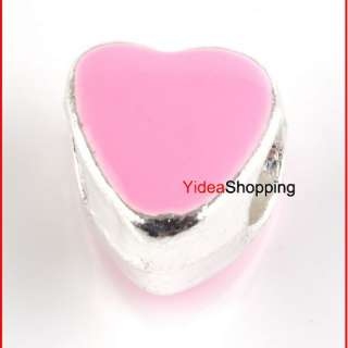 Silver Plated Pink Enamel Heart Charms Beads Fit European Bracelet
