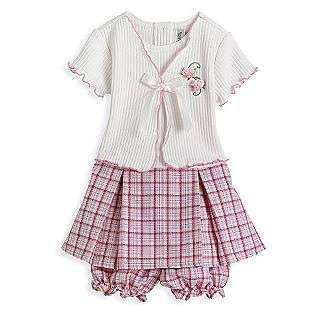 Toddler Girls White Cardigan Pink Plaid Dress  Youngland Baby Baby