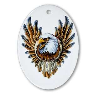Ornament (Oval) Bald Eagle with Feathers Dreamcatcher