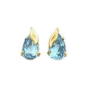 14K Gold Blue Topaz Leaf Stud Earrings Jewelry New