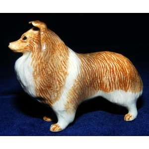 SHELTIE SHETLAND Sheep Dog Stands MINIATURE Porcelain Figurine KLIMA