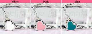 Korean Fashion Sweet Cute White Blue Pink Tiny Heart Pendant Necklace