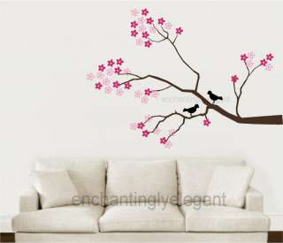 Tree Branch Cherry Blossoms Birds Vinyl Wall Decor Decal Sticker Large