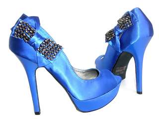 New Blue Peep Toe Platform Side Bow Satin shoes Pumps