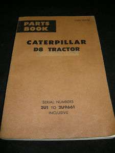 CAT CATERPILLAR D8 TRACTOR Parts Manual Catalog Book 2U
