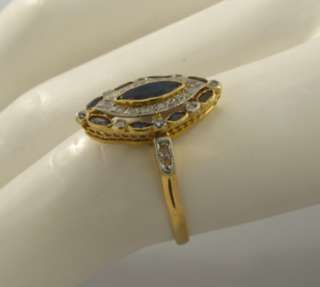 Antique Art Deco Sapphires Plat Diamonds 18k Ring