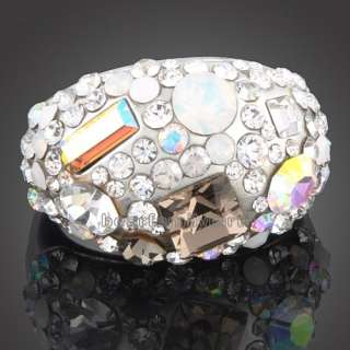18K white GOLD GP full Swarovski crystal ring 1580