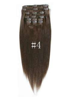 "20"" 7PCS Straight Remy Clip in real Human Hair Extensions 11 colors"