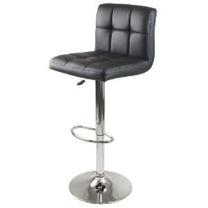 Stockholm Air Lift Stool, Swivel Square Grid Faux Leather
