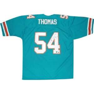 Zach Thomas Autographed Teal Custom Jersey Sports