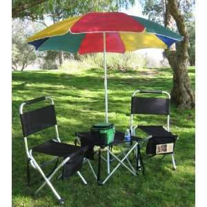 LIGHT Folding Table w/2 OVERSIZE HEAVY DUTY Aluminum Chairs & BIG