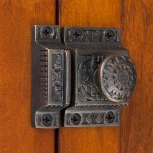 Solid Brass Cabinet Latch with Windsor Knob   Oil Rubbed