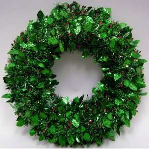 Green Tinsel Holly Berry Artificial Christmas Wreath