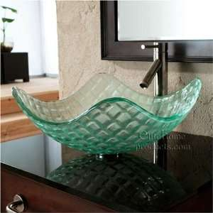 Clear Tempered Glass Sink with Square Textures